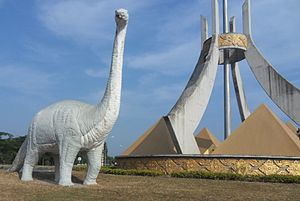 Savannakhet Province - Locally reconstructed sauropod Tangvayosaurus near a roundabout in Savannakhet