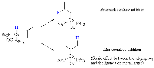 Migatory insertion step for propylene for a cobalt carbonyl bis-tributyl phosphine complex