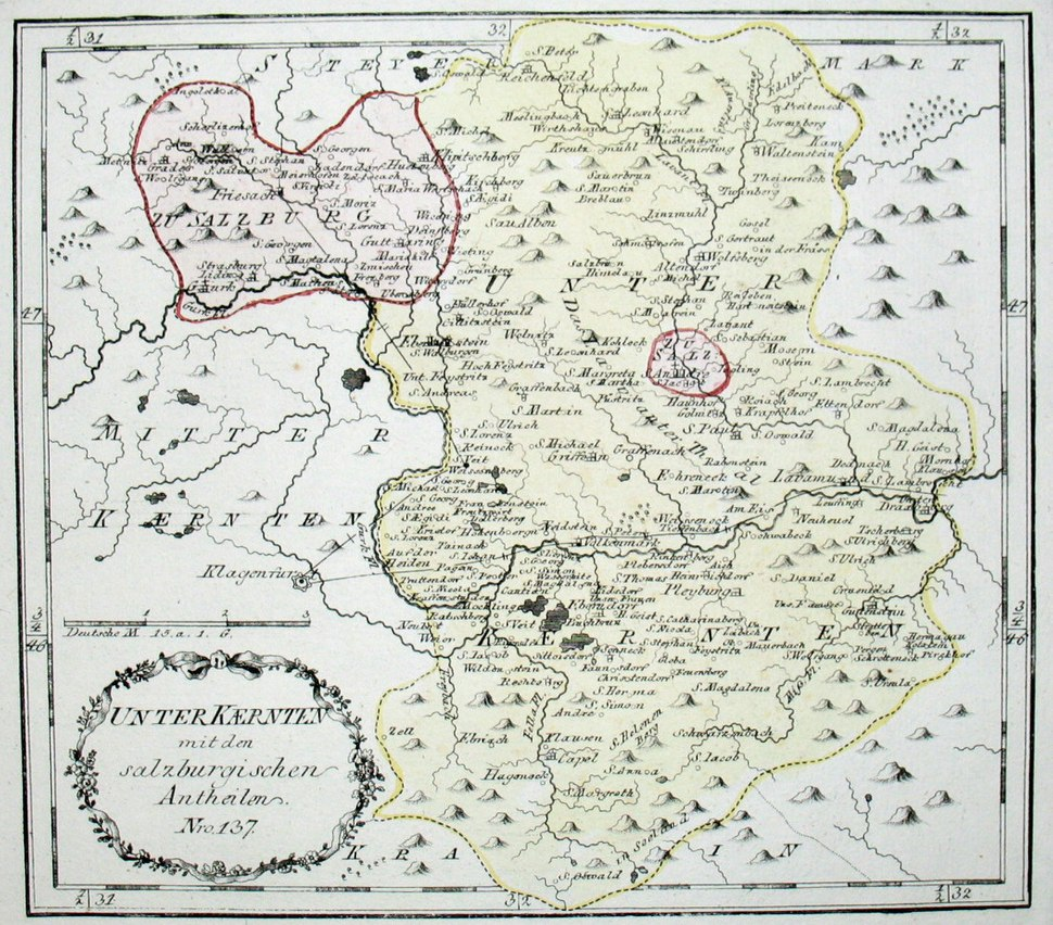 1791/92 map of Lower Carinthia