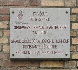 Geneviève de Gaulle-Anthonioz - Commemorative Plaque at the home of Geneviève de Gaulle, 10 rue de Robin, Rennes.