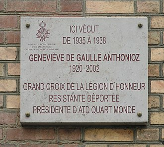 Geneviève de Gaulle-Anthonioz - Commemorative Plaque at the home of Geneviève de Gaulle, 10 rue de Robin, Rennes.