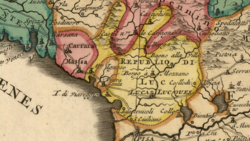 Detail of a French map of Italy from c. 1700–1750 showing the territory of the Republic of Lucca. The map was designed by Nicolas Sanson (1600-1667) and published after his death by Covens & Mortier.