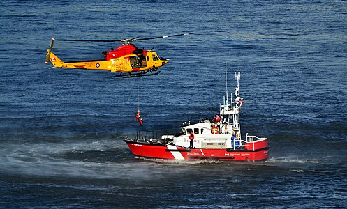 A rescue exercise by the Canadian Forces and the Coast Guard during an air show in Quebec City.