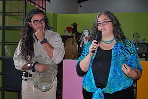 Ana Karen Allende - Allende and husband Sinhué Lucas at opening of exhibit at the Centro Cultural Mexiquense.