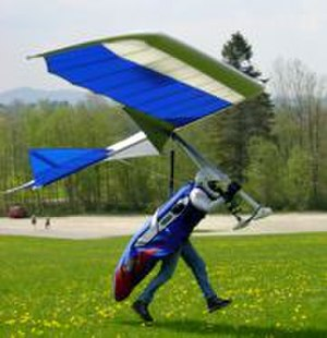 History of hang gliding - Flight Design Exxtacy rigid wing glider, showing flaps and spoilerons, flares for a smooth landing; 2001.