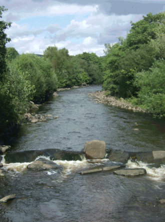 River Amman - The River Amman between Ammanford and Betws looking towards the Black Mountain.