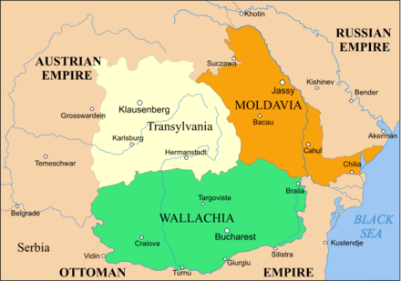 Wallachia (in green), after Treaty of Paris (1856) Rom1856-1859.png