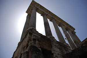 The famous set of columns from the Roman Forum...