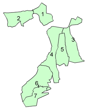 Upminster - 1931: Upminster (4) within Romford Rural District, adjoining Great Warley (3), Cranham (5) and Rainham (6)