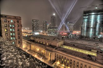 Union Station (Toronto) - Union Station on Front Street West as viewed from the Royal York Hotel
