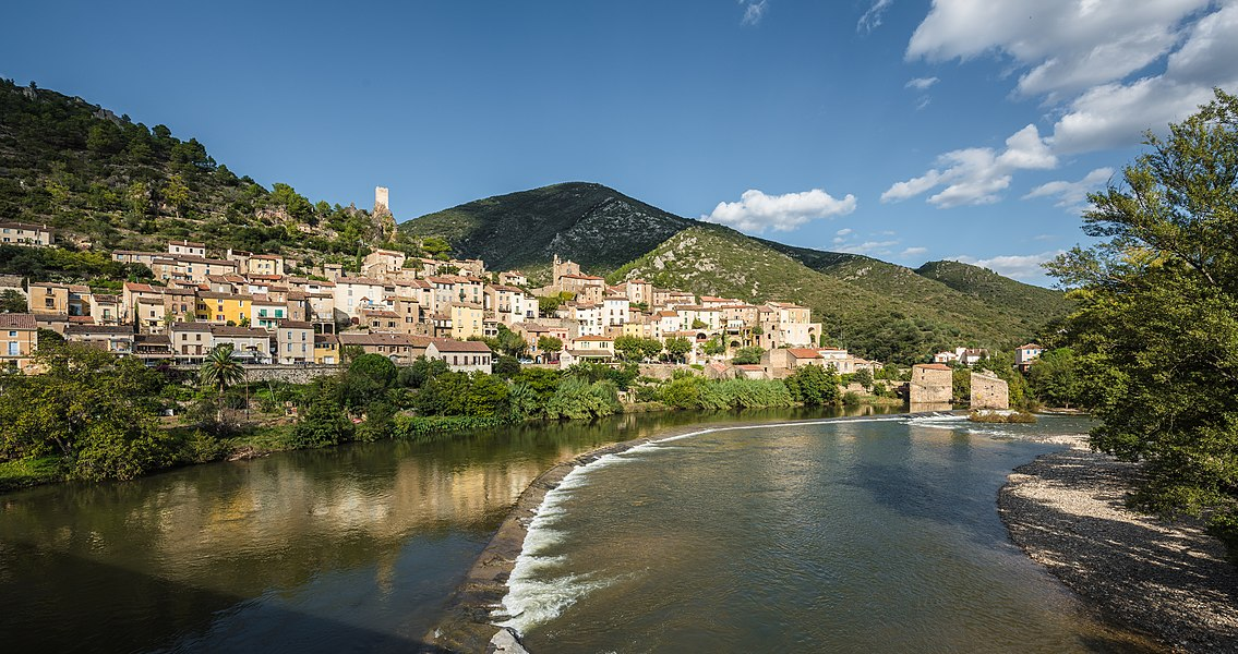 The village of Roquebrun from the Bridge above the Orb River.Roquebrun, Hérault, France. Haut-Languedoc Regional Natural Park.