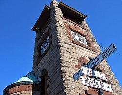The Ellen Ward Clock tower at Main Street and Old Northern Boulevard, Roslyn's best-known landmark.