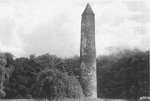 Antrim International Cross Country - The round tower in Antrim, where the meeting is held