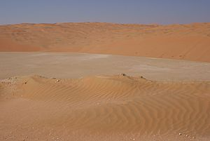 Rub' al Khali - Typical pale gravel plains surrounded by huge sand dunes