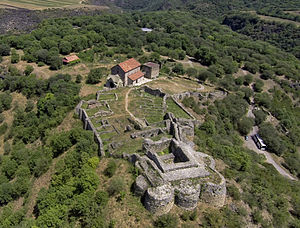 Dmanisi - Dmanisi castle ruins with Dmanisi Sioni and archeological site in background