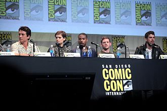 Fantastic Four (2015 film) - The cast of Fantastic Four, including Miles Teller, Kate Mara, Michael B. Jordan, Jamie Bell and Toby Kebbell at the 2015 San Diego Comic-Con to promote the film.