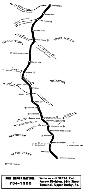 Norristown High Speed Line - Route 100 map from 1974