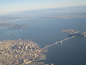 North Bay (San Francisco Bay Area) - San Francisco is in the foreground in this picture looking north. San Pablo Bay continues north surrounded by parts of (left to right) Marin, Sonoma, and Napa Counties.