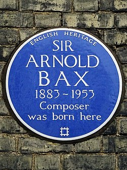 Photo of Arnold Bax blue plaque