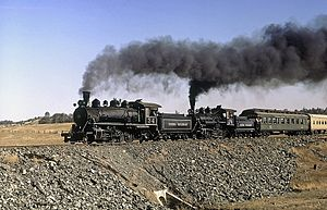 Chinese Camp, California - Sierra Railroad excursion train starts upgrade out of Chinese Camp, September 1971