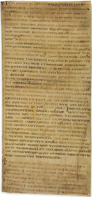 Anglo-Saxon charters - The oldest surviving Anglo-Saxon charter, issued by King Hlothhere of Kent in 679