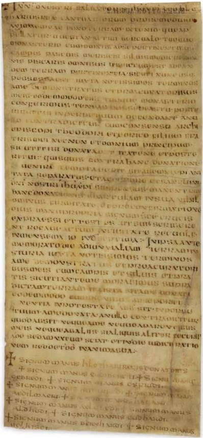 S 8 Charter of King Hlothhere of Kent AD 679 (BL Cotton MS Augustus II 2)