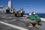Sailors launch an unmanned aerial aircraft aboard USS San Diego (34532937686).jpg
