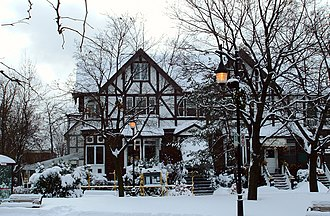 Saint-Lambert, Quebec - A Neo-Tudor house, turned restaurant, in Saint-Lambert's village during winter.