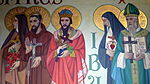 Saint Anthony of Padua Catholic Church (Dayton, Ohio) - mural detail, Sts. Therese of Lisieux, Francis of Assisi, Wenceslaus, Margaret Mary, & Francis de Sales.JPG