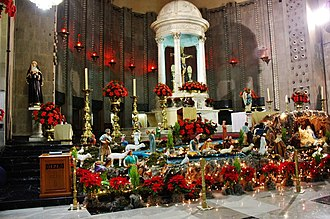 Christmas in Mexico - Altar of the Saint Augustinus Church in Miguel Hidalgo, Federal District decorated for Christmas.