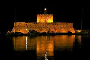 Saint Nicolas Fort Rhodes Harbour night.jpg