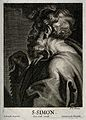 Saint Simon. Line engraving by C. van Caukercken after Sir A Wellcome V0032983.jpg