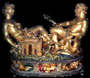 Saliera von Cellini (Paris, 1540-1543 Gold, teilweise emailliert; Sockel: Ebenholz), heute im Kunsthistorischen Museum Wien