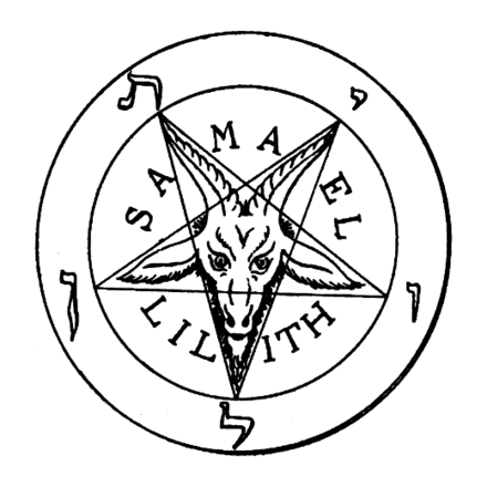 Stanislas de Guaita drew the original goat pentagram, which first appeared in the book La Clef de la Magie Noire in 1897. This symbol would later become synonymous with Baphomet, and is commonly referred to as the Sabbatic Goat. SamaelLilithGoatPentagram.png