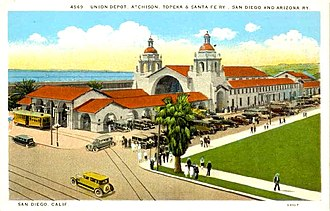 National Register of Historic Places architectural style categories - Santa Fe Depot (San Diego), in Spanish Colonial Revival style.