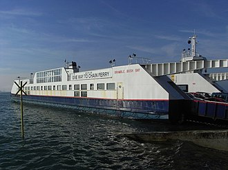 Sandbanks Ferry - Arriving at Sandbanks Ferry Terminal in Poole in February 2008