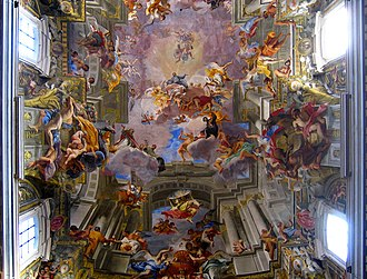 Anamorphosis - Andrea Pozzo's painted ceiling in the Church of St. Ignazio, 1690