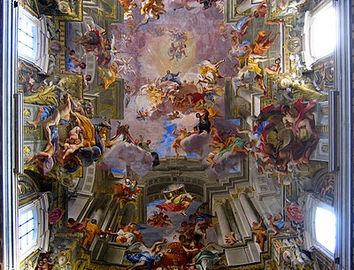 Andrea Pozzo's painted ceiling in the Church of St. Ignazio.
