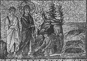 Jesus exorcising at sunset - Fifth century mosaic of Christ exorcising demons, Basilica of Sant'Apollinare Nuovo, Ravenna, Italy.