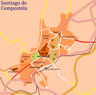 plano esquematico de la ciudad con las principales vias de acceso y ...