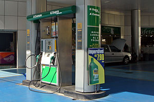 Biofuel - Neat ethanol on the left (A), gasoline on the right (G) at a filling station in Brazil