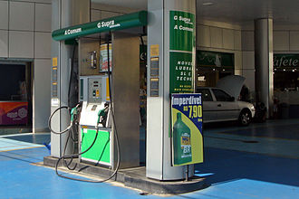 Conservation in Brazil - Brazil has ethanol fuel available throughout the country. Shown here a typical Petrobras gas station at São Paulo with dual fuel service, marked A for alcohol (ethanol) and G for gasoline.