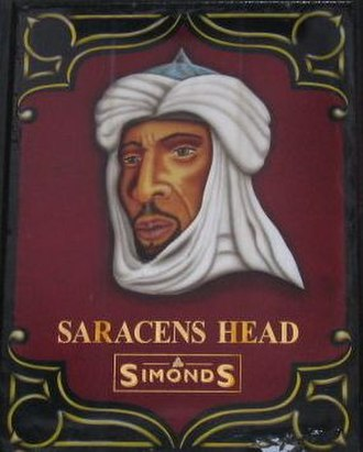 Pub names - The sign of the Saracen's Head in Broad Street, Bath, England