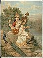 Sarasvati with her sitar and peacock. Chromolithograph by R. Wellcome V0045121.jpg