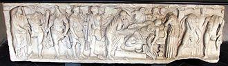 Phaedra (mythology) - Sarcofago con la morte di fedra del II sec., da tomba di incisa vivaldi (1304) fuori s.m. delle vigne