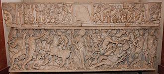 "Gallo-Roman culture - The ""Endymion sarcophagus"", early third century, found in 1806 at Saint-Médard-d'Eyrans, in Roman Gallia Aquitania (Louvre)"