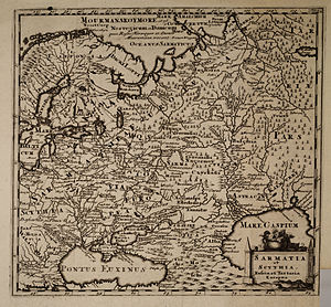 Sarmatians - Sarmatia Europea in map of Scythia, 1697.