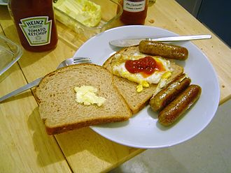 Sausage sandwich - English sausage and egg sandwich