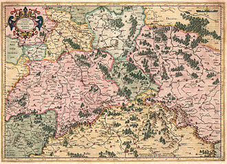 Upper Saxony - Saxonia superioris (Saxe–Wittenberg) with Meissen and the Lusatias, Mercator–Hondius atlas, 1627
