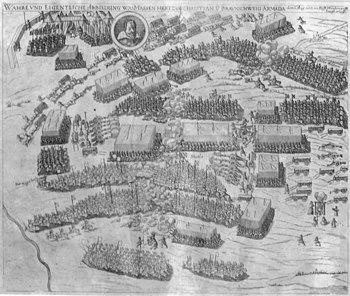 Battle of Stadtlohn 1623. Etching from 1626 in Strünkede Castle, Herne